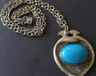 Necklace Vintage Blue Turquoise Color Ceramic Domed Cabochon Silver Plated Pendant Chain Exotic Funky Boho Runway Chic Statement Necklace