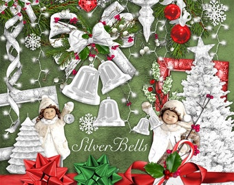INSTANT DOWNLOAD Silver Bells - Christmas Digital Scrapbook Kit