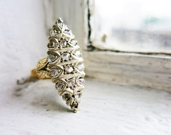 Antique Lanzadera or Navette-shaped Two-toned Ring Silver Top and 8K Gold Bottom with Diamonds from the Philippines (US Ring Size 6 3/4)