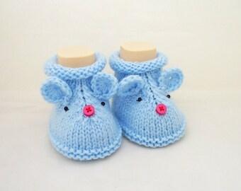 Mouse booties, Cute Baby Booties, Grey Booties, Hand Knitt Mouse Booties, Mouse Booties in Blue
