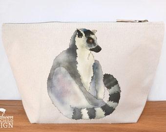Lemur Canvas Wash Bag, Large Zipper Pouch, Makeup Bag, Toiletry Bag, Accessory Bag