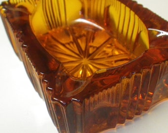Honey Amber Small Cut Glass Ash Receiver Depression Era Ashtray Starburst Tray Trinket Dish Tobacciana Smoking Cigarette Cigar Smoker