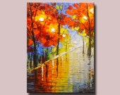 Abstract Wall Painting,Palette Knife Abstract Painting, Textured Painting,,Landscape Painting ,Park Lights Painting  on Canvas, by Chen w50