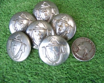 Set of 6 MA State Seal Uniform Buttons