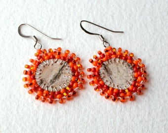 Beaded Birch Bark Earrings - Native Made - Circle - Orange - Coin Size - Free Shipping