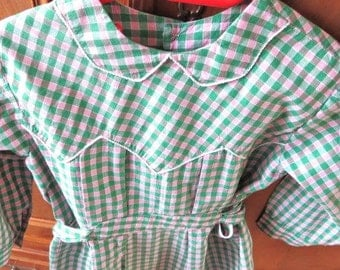 """French 1940s 4 years old girl green and pink checker dress, school apron """" tablier""""  blouse"""