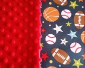 Baby Blanket Cotton Sport Minky backing 19 colors Carseat Blanket Crib Blanket Minky Blanket