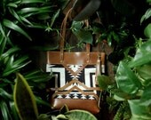 The Buena Vista Social Bag - Black and white Pendleton Oregon wool and cognac leather tote
