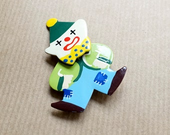 Clown Brooch Movable Head Painted Metal Pin