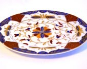 Vintage Imari Japan Dresser Tray Mini Oval Dish China Goldleaf Floral Pattern