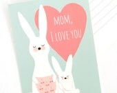 Mother's Day postcard, bunny rabbit, animal illustration, from kids, Mom I Love You, thank you mom, Blank Note card, birthday, heart, pastel