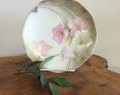 RS GERMANY Transferware Pink, White & Green Floral Decorative Plate