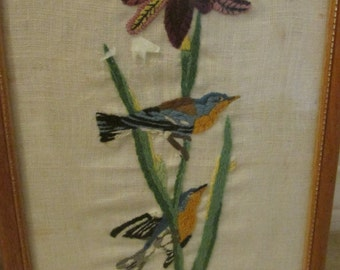 Vintage  framed, embroidered picture of birds and iris flower