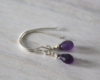 Amethyst Minimal Earrings - Dainty Earrings -Gift For Her -February Birthstone - Birthstone Jewelry