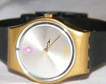 12 Oclock Crystal Gold Bezel Spring Summer Swiss Swatch Watch