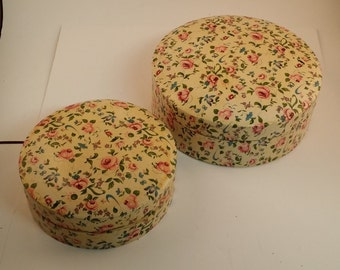 2 Vintage Nesting Paper Mache Boxes -- Pink Roses and Green Leaves, 5.25-6.5 Inches, For Vanity, Bathroom or Bedroom