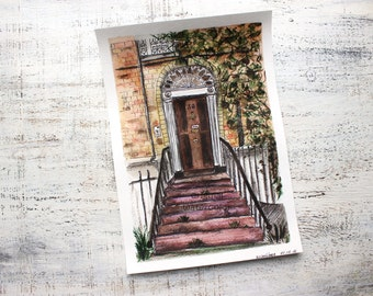 Dublin door original watercolor optimistic painting 8x12