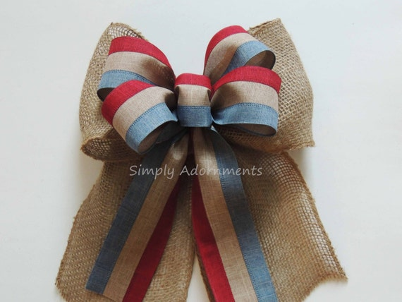 Vintage Burlap July 4th Wreath Bow Patriotic Burlap Bow Fourth 4th of July Bow July 4th Decor Bow Independence Wreath Bow Patriotic Bow