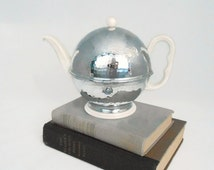 Thermisol Insulated Teapot -  Hammered Chrome Cozy - German Porcelain Teapot - 1940's Sus Bauscher Lizenz - Locking Lever