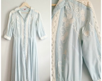 1950s Blue Day Dress / Vintage Cotton Dress / 50s Embroidered Dress with Pleated Skirt