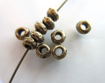 10pc pure Bronze roundelle beads 4.5mm round x 2mm thickness antique bronze Artisan style spacer bead (S251-B)
