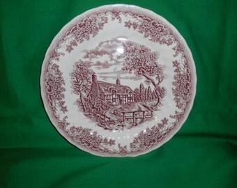 """One (1), 9 7/8"""" Dinner Plate, from Churchill China, in; The Brook Pink Pattern."""