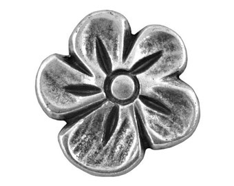 6 Blossom 9/16 inch ( 15 mm ) Metal Buttons Antique Silver Color