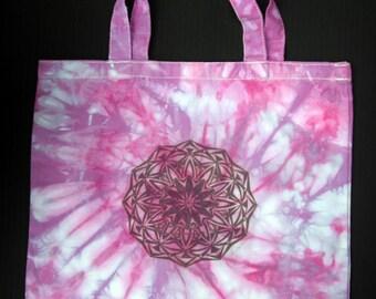 purple pink spiral ustrasana mandala tote