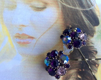 Decorative Hair Pins Renaissance Bridal Jewelry Decorative 1950's Weiss Purple Amethyst AB Rhinestone