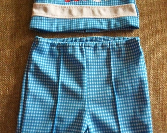 ON SALE Vintage Mayfair 2 Piece Baby Boy Outfit, Polyester, Royal Blue Check, Red Car, Stop Sign Applique, Shirt & Long Pants, Short Sleeve