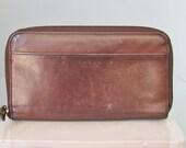 Coach Wallet / Vtg 70s (?) / Dark Brown Leather Coach Wallet / Zip Around Wallet /