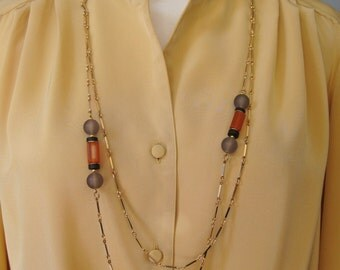 """Umber Tones Necklace / Vtg 70s / Sarah Coventry Double Gold Tone Umber Tones Necklace / 32"""" Long / Double Chain"""