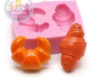 Croissant Bread Cabochon Mold 18mm, 20mm Chocolate Mold Resin Mold Phone Deco Cupcake Mold Bakery Mold Polymer Clay 582m* Long Durability