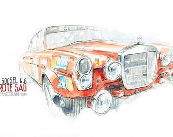 AMG Mercedes 300SEL - Original A3 Watercolour Sketch