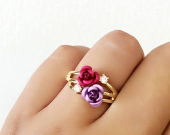 Rose rings, right hand ring, flower ring, pink rose ring, purple rose ring, cz rose ring, size 10 ring, fairy tale rose ring, gold ring,pink