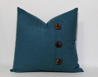 Teal pillow cover. Linen slub Button Pillow cover. Pleat accent pillow cover, button pleat accent pillow. Deep turquoise linen.