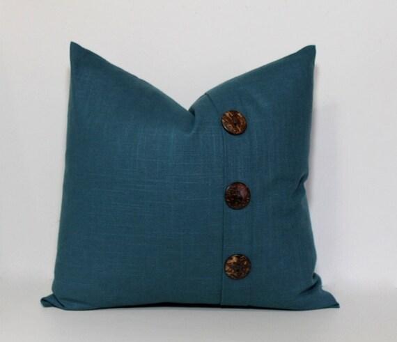 Teal pillow cover. Linen slub Button Pillow cover. Pleat