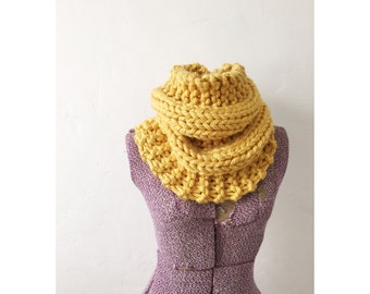 KNIT COWL INFINITY - Hand Knitted Neckwarmer Cowl Circle Infinity Scarf, extra chunky knit golden yellow  cowl, cowl in gold
