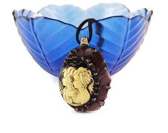 Spoon Jewelry, Cameo Jewelry, Art Pendant, Victorian Pendant, Art Pendant, Stained Glass Pendant, Twin Pendant, Purple Stained Glass Jewelry