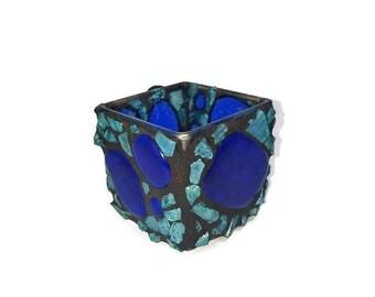 Fused Glass Candle Holder, Votive Candle Holder, Blue Tumbled Glass Candle Holder, Blue Glass Jar, Mosaic Candle Jar, Home Lighting,