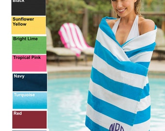 Monogrammed Cabana Stripe Beach Towels by Arts & Soles