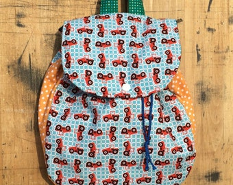 Kids Backpack // Red Tractors Backpack // Toddler Backpack //  Jr Farmer // Tractor BackPack // Farmer BackPack