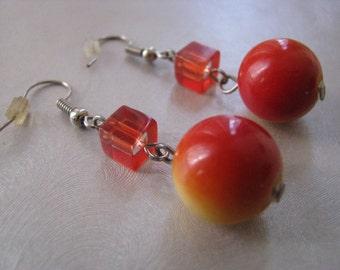 Orange and Yellow Dangle Earrings - Vintage Ball Earrings