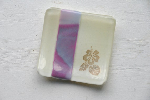 Hibiscus 3x3 Small Square Glass Fused Dish in ivory and pink and purple swirl glass