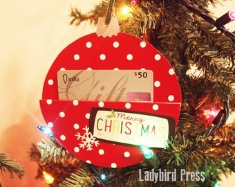 Printable Christmas gift card holder - stocking stuffer - gift card holder - Ornament instant download