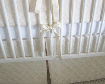 Neutral Baby Bedding Set: 2pc crib set, crib bumper, crib skirt, nursery bedding, baby girl bedding, baby boy bedding, Custom Made to Order