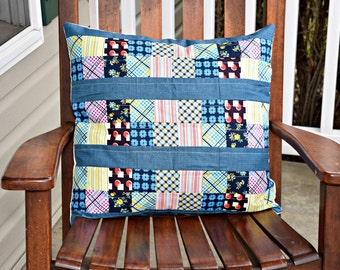 """Pillow Cover- 20"""" X 20""""- Patchwork Pillow Cover, one of a kind Pillow cover, Scrappy pillow cover, Unique pillow, colorful pillow cover"""