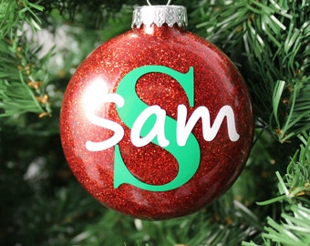 Red Glitter Personalized Glass Ornament