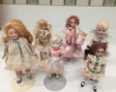 Group of Six Bisque Dolls   All Handmade in Perfect Condition