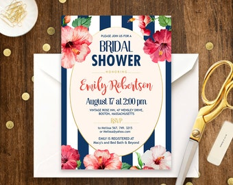 Beach Bridal Shower Invitation Printable Nautic Bridal Brunch Navy & Coral Hibiscus Tropical Aloha Hawaii Bridal Invite PDF INSTANT DOWNLOAD